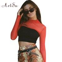 ArtSu Sexy Mesh Patch Cropped T Shirt Women Autumn Turtleneck Long Sleeve Crop Top T Shirt