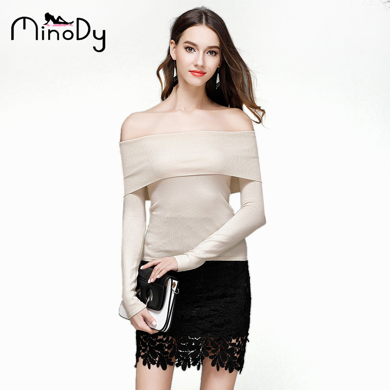 04ef32526fa Minody Off Shoulder Pullover Sweaters Autumn Winter Women Sweater Strapless  Short Lapel Sexy Bodycon Basic Knitwear