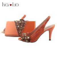 BS851 DHL Custom Made Orange Crystal Shoes With Matching Bag Slingbacks  Women Shoes Dress Pumps Bridal 2a79dc6c023e