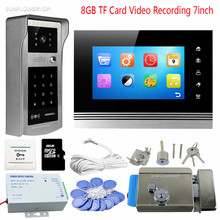 Rfid Code Keypad Video Intercom With Lock Domophone Touch Key 7″ Color 8GB TF Memory Card Recording Door Phone Night Vision