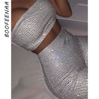 BOOFEENAA White Rhinestones Sexy Two Piece Short Set for Women Matching Sets Beach Party Club Outfits Summer 2 Piece Set C54AG15