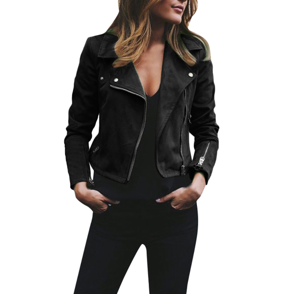 LNCDIS NEW HOT Fashion Womens Ladies Retro Rivet Zipper Up Bomber Notched Jacket Casual   Coat   Outwear Wholesale Freeship N4