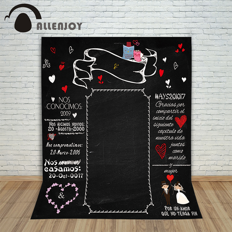 Allenjoy Photographic background Blackboard heart romantic wedding original design vinyl custom photography backdrops 8x8ft