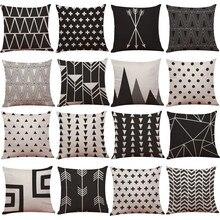 Funda de cojín de lino y algodón blanco y negro Vintage funda de almohada para decoración de hogar 45cm * 45cm para sofá funda de cojín de asiento de coche