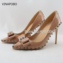 e19653ea Color Nude remaches tacones altos patente PU aguja marca sharp rivet tacones  altos mujeres singles zapatos