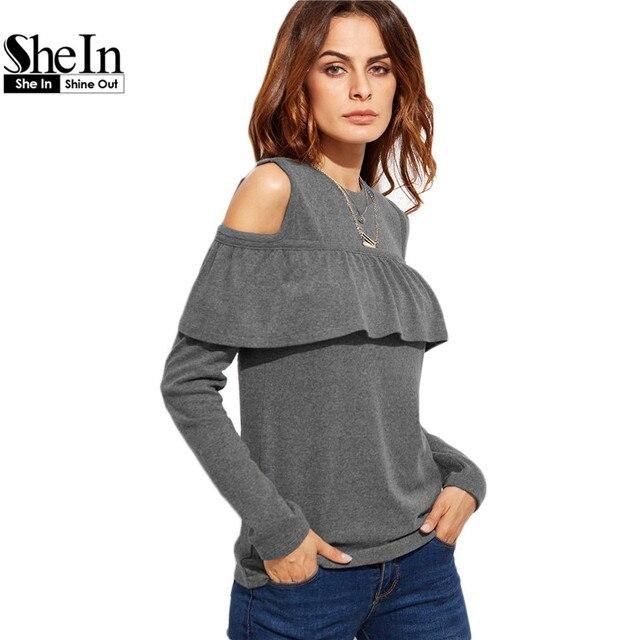 SheIn 2016 Autumn Fall Fashion T Shirt Women Tops Womens Clothing Grey Cold Shoulder Long Sleeve Ruffle Trim Casual T-shirt