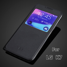 K7 View Window case for LG K7 LG M1 Tribute 5 LGK7 X210 X210DS MS330 Auto sleep super thin flip cover leather case Capa Para