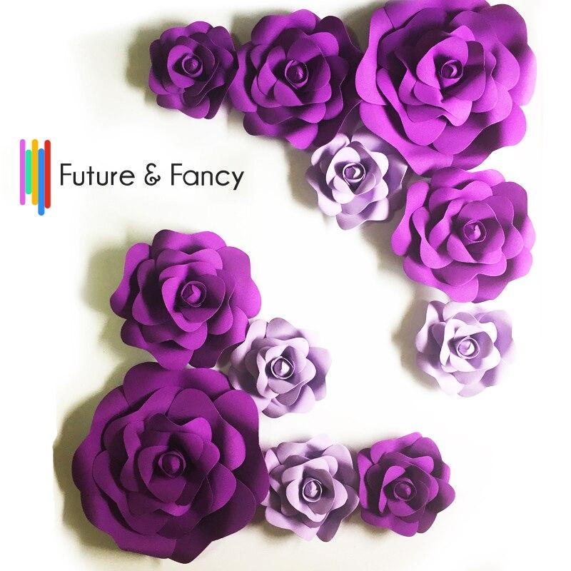 11pcs Giant Foam Paper Flowers Mix Lilac Purple For Showcase Wedding Backdrop Background Activities Decoration Stage Props
