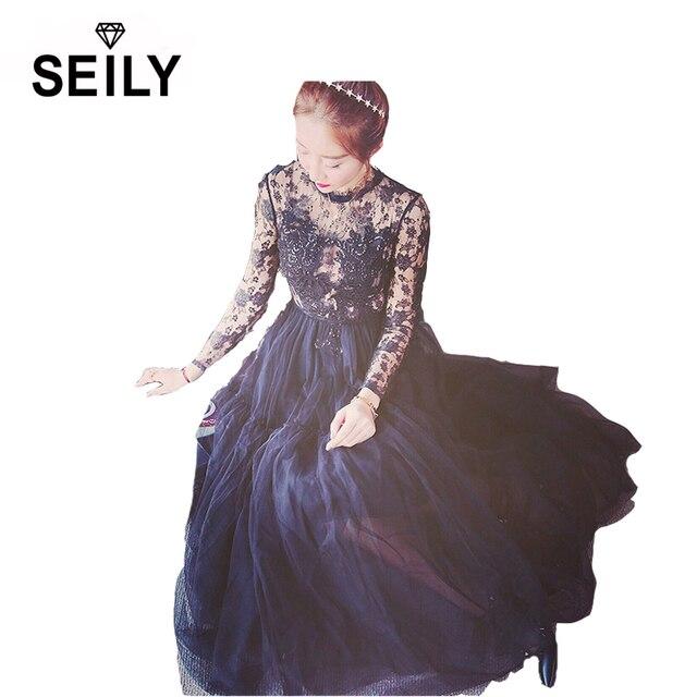 28352c04b1 2017 Luxury Lace Sequin Embroidery Summer Black Mesh Maxi Dress Women Long  Sleeve Vintage Elegant Party Wear Vestido SEILY DS003
