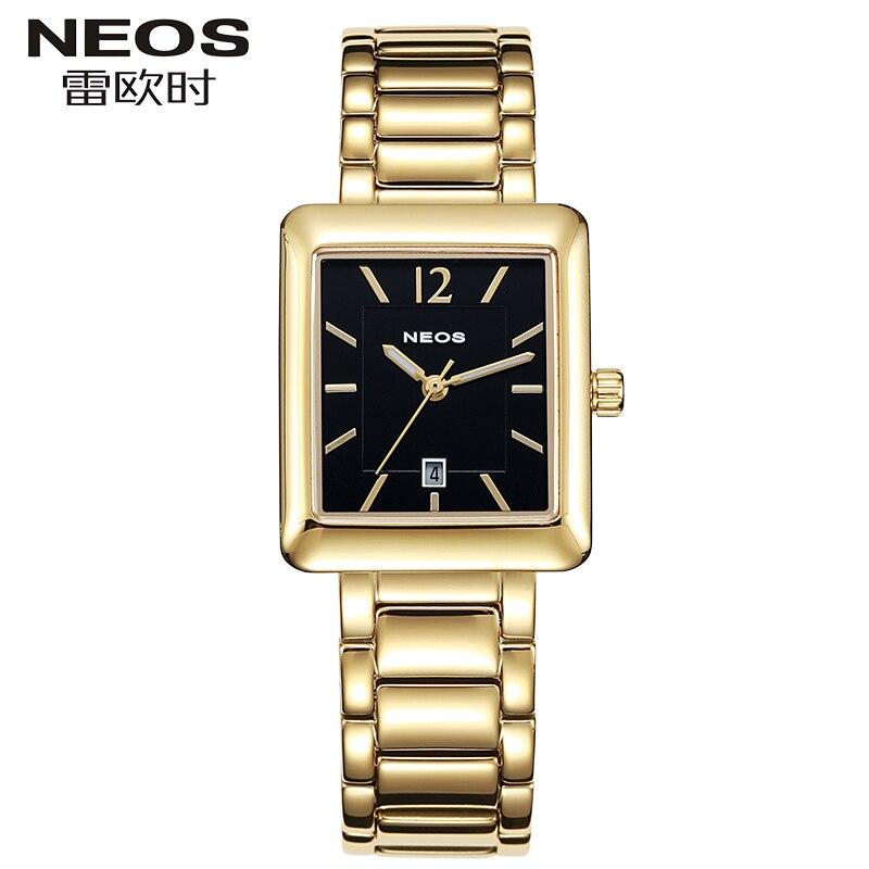 Неос ультра тонкий дамы Водонепроницаемый Мода Прямоугольные кварцевые часы класса люкс Календари элегантный Для женщин Часы