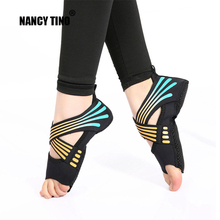 NANCY TINO Professional Yoga Socks Adult Aerial Ballet Open Toe Non-Slip Shoes Womens Bandage Fitness Floor Shoe Sock