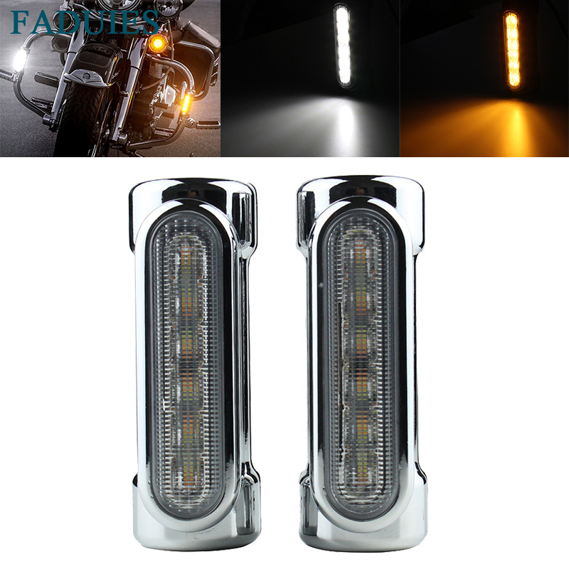 FADUIES Chrome Motorcycle Highway Bar Switchback Turn Signal Light For Victory Motor Road King Street Glide Softail Fat Boy