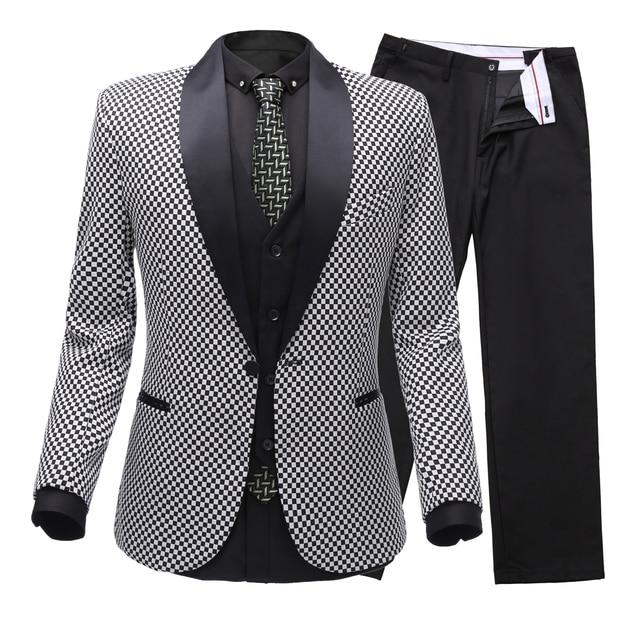 2c111ca01b5b Men's Plaid Modern Fit 3-Piece Checked Suit Vent Blazer Jacket Tux Vest &  Trousers(Suit jacket+pants+vest)