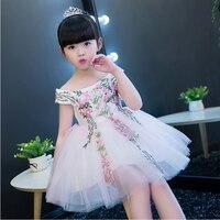 2017New Korean Sweet Summer Baby Girl Princess Dress Sleeveless Embroidery Flowers Dresses For Girl Birthday Party