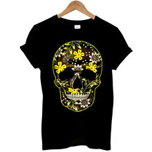 Flower Skull Day Of The Dead Mexican Candy indie Gothic Mens T Shirt #3  New Shirts Funny Tops Tee free shipping