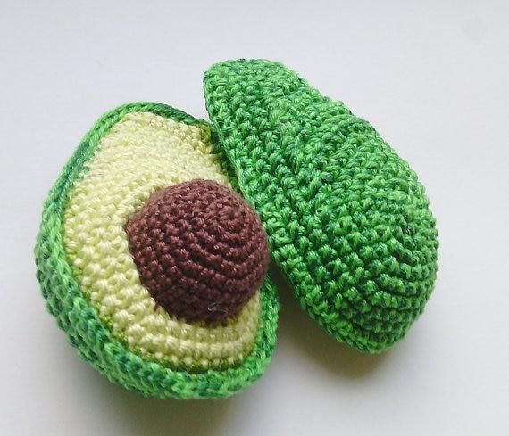 Crochet Avocado ,Crochet Kitchen Decor - Crochet Toy Food Play Kitchen - Pretend Play Rattle - Interactive Children Games
