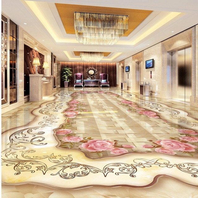 Free Shipping High Quality 3D Stereo Marble Flooring Wallpaper Living Room Bathroom Kitchen Waterproof Non