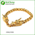 Gold and silver dragon head link bracelets for cool Men jewelry fine vintage style double dragon stainless steel Bracelet