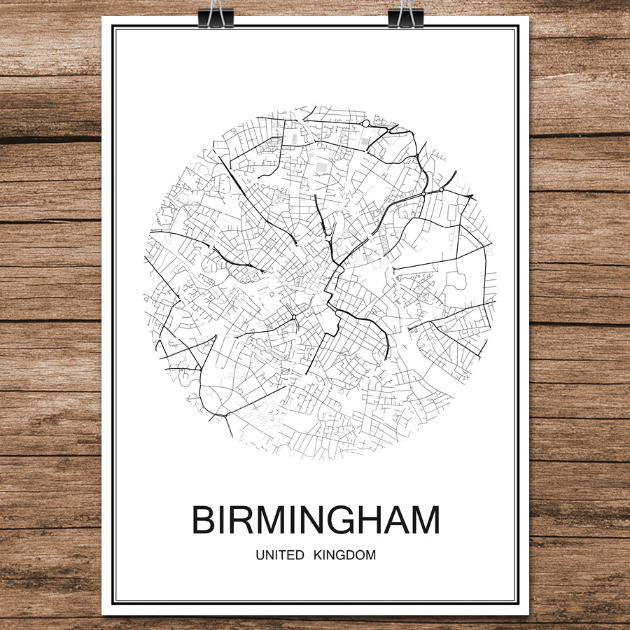 Famous World City Street Map BIRMINGHAM UK Print Poster Abstract Coated Paper Bar Cafe Living Room