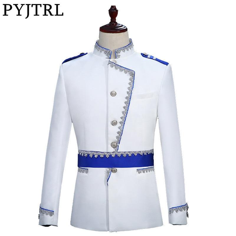 Hartig Pyjtrl Militaire Stijl Hof Prins Blazer Mannen Podium Bruiloft Bruidegom Slim Fit Jasje Veste Homme Kostuum Bleiser Hombre