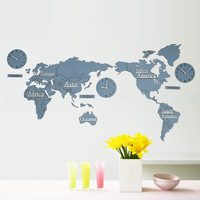 1.8 Meter/ 2.2 Meter Modern World Map Wall Clocks European Style Round Wood Middle Large Watch Wall Clock Mute Relogio De Parede