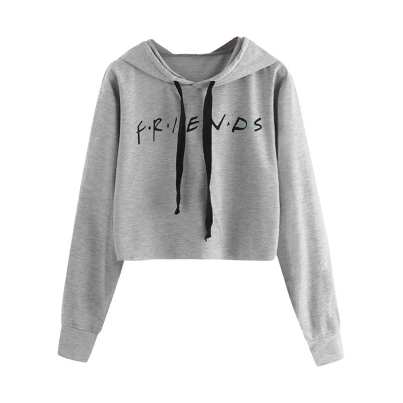Short Hooded Loose Sweatshirt Women\'s Letter Print Pullover Long Full Sleeve Casual Autumn Girl\'s Sweatshirts Teen Top