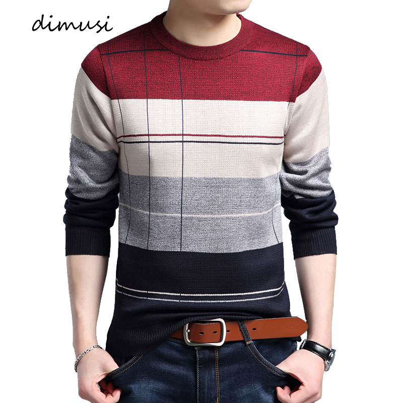 DIMUSI Autumn Winter Mens Sweater Men Casual O-Neck Wool Pullover Sweater Men's Slim Fit Knitted Pullovers Shirt Clothing 3XL