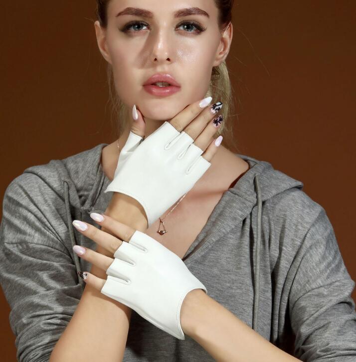 Women's Natural Sheep Skin Leather Fingerless Glove Lady's Natural Leather Driving Glove R451