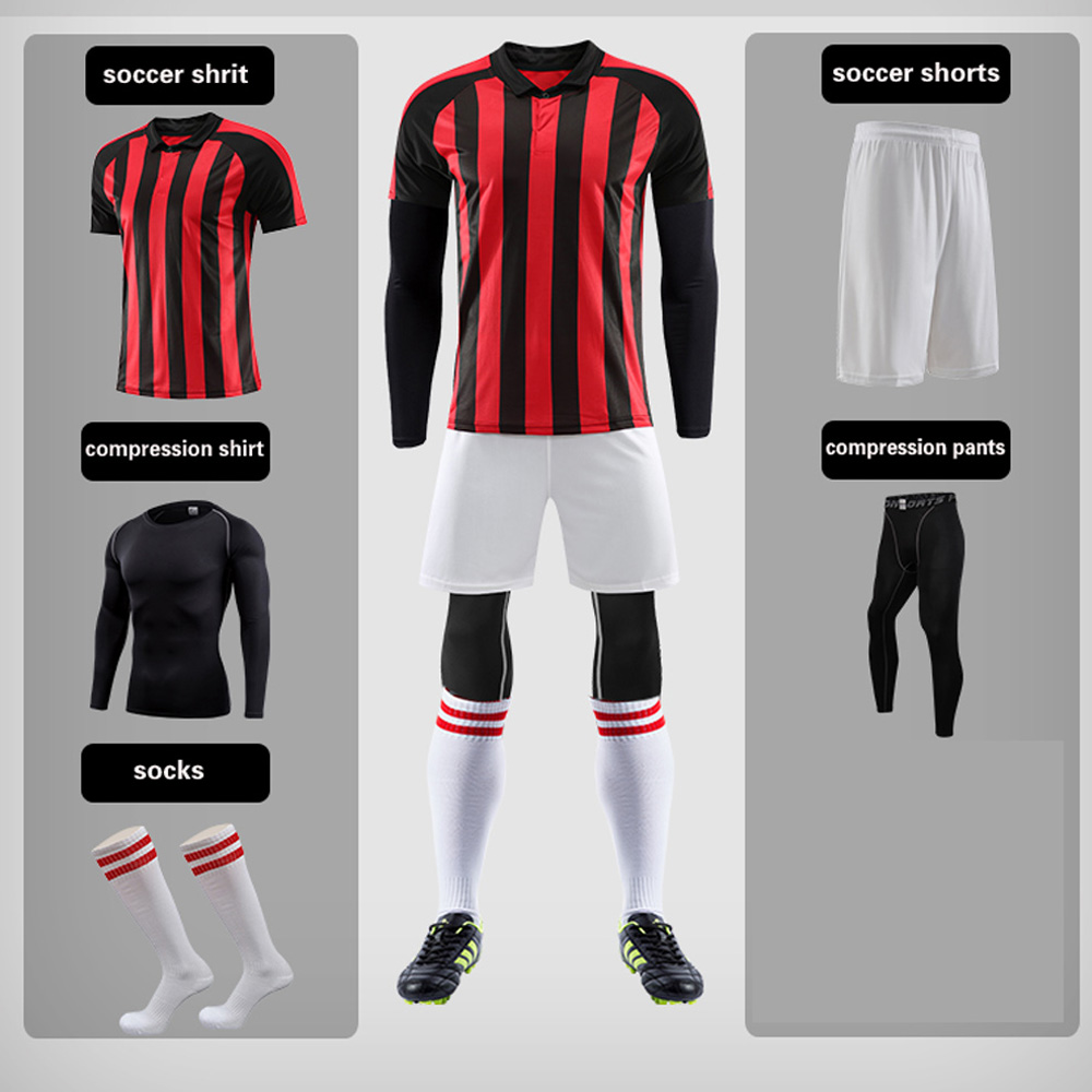 Men 5pcs Soccer Jerseys The Whole Set with Compression Clothes and Socks Football kit Training Suits Coutomzied UniformMen 5pcs Soccer Jerseys The Whole Set with Compression Clothes and Socks Football kit Training Suits Coutomzied Uniform