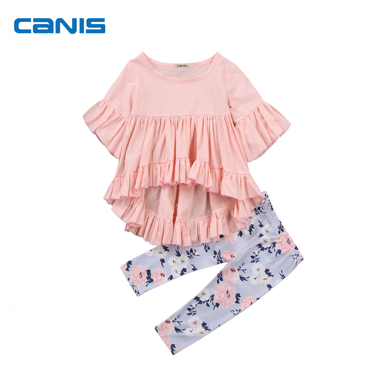 2017 New Brand Toddler Infant Newborn Kids Baby Girl Clothes Outfits T-shirt Top Pants Floral Trousers Ruffled 2Pcs Set 0-3T