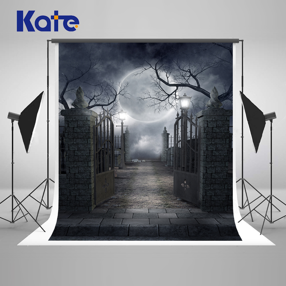 Kate Halloween Photography Backdrop 10x10ft Iron Gate Camera Background With Moon For Children Background Photo Studio