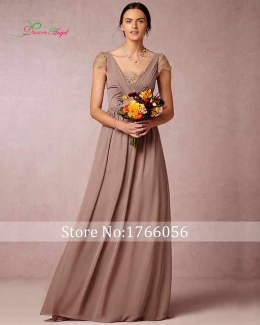 New Fashionable Luxury Long Lace Bridesmaid Dresses 2016 Elegant V Neck Cap Sleeve A-line Chiffon Wedding Party Dress Plus Size