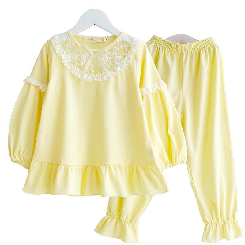 Image 4 - Summer Girls Pajama Sets Kids Sleepwear Cotton Lace Lantem Sleeve Home Clothes Children Nightgown Princess 90 170cmPajama Sets   -