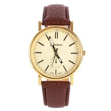 Hot Fashion Men Relojes Easy To Read Alloy Analog Relogio Gold Dial Leather Strap Quartz Watch Gift