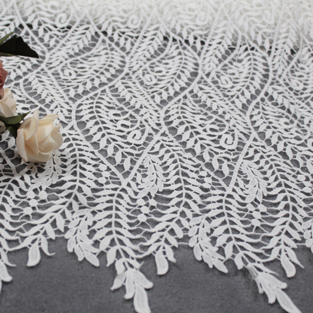 5 Yards Nigerian Lace Fabrics For Wedding Dress White African Cord Lace Fabrics High Quality Embroidery