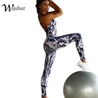 Women Sexy Sport Suit Jumpsuit Yoga Sets Bandage Backless Gym Sportswear Tracksuit Woman Print Camouflage Sport