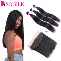 Straight Brazilian Hair Bundles And Lace Frontal Closure Free Part 13X4 Straight Remy Weaves Human Hair