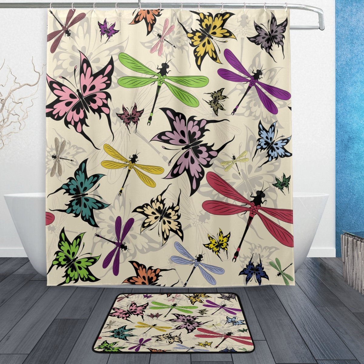 Vintage Colorful Butterfly Dragonfly Waterproof Polyester Fabric Shower Curtain with Hooks Doormat Bath Floor Mat Bathroom Home