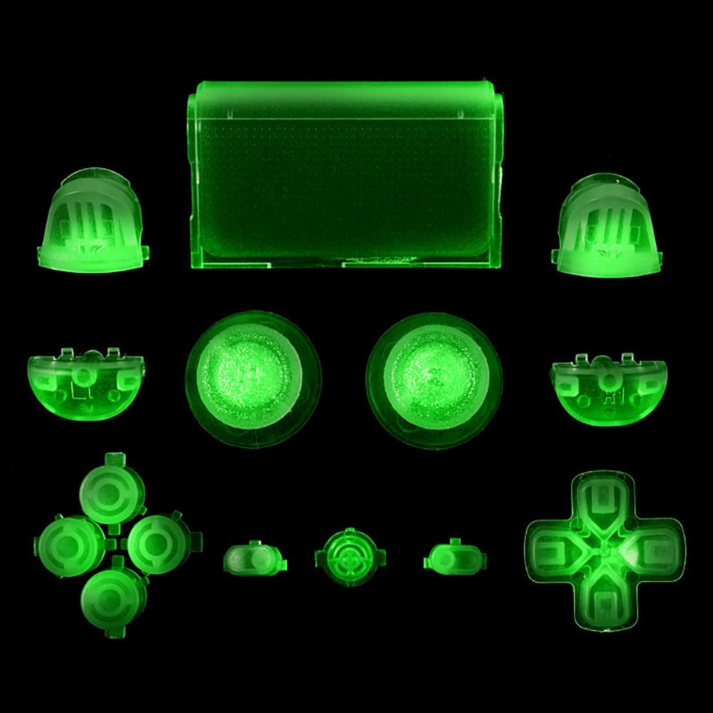 New Full Set Glow In The Dark Buttons Cap Replacement Parts For Sony PS4 Controller