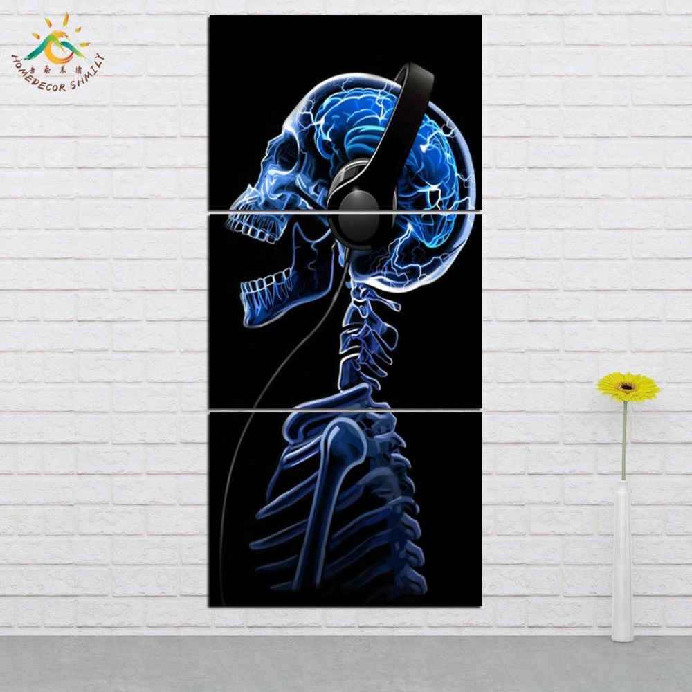 Wall Art HD Prints Canvas Art Painting Modular Picture And Poster Canvas Painting Skull Wearing Headphones Home Decor 3 PIECES