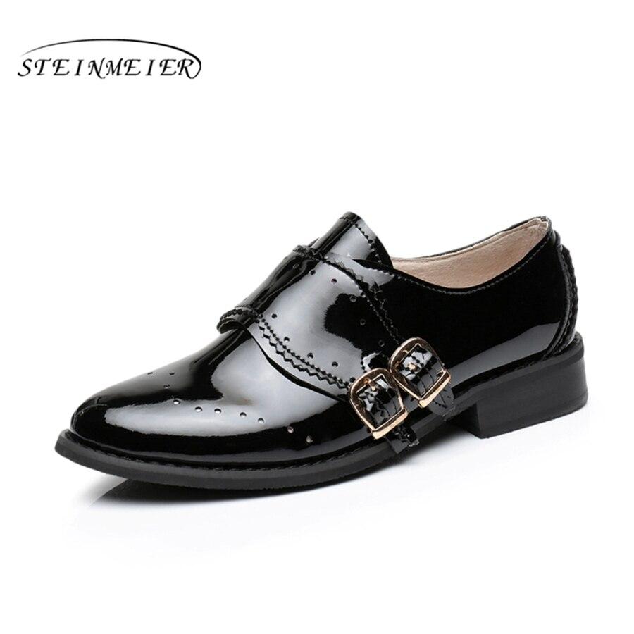 женская обувь на плоской подошве туфли-оксфорды без каблука большие размеры натуральная кожаная винтажная обувь с круглым носком ручной работы черный 2017 туфли-оксфорды для женщин