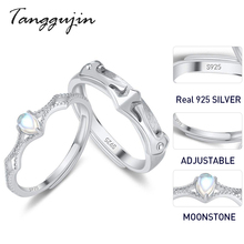 Tanggujin Real Sterling Silver 925 Ring Couple Rings Adjustable Natural Moonstone Wedding Band For Lovers Women Men Jewelry