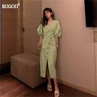 RUGOD 2019 summer women v neck puff sleeve Side slit slim lady Dresses botton back butterfly casual lady vestidos