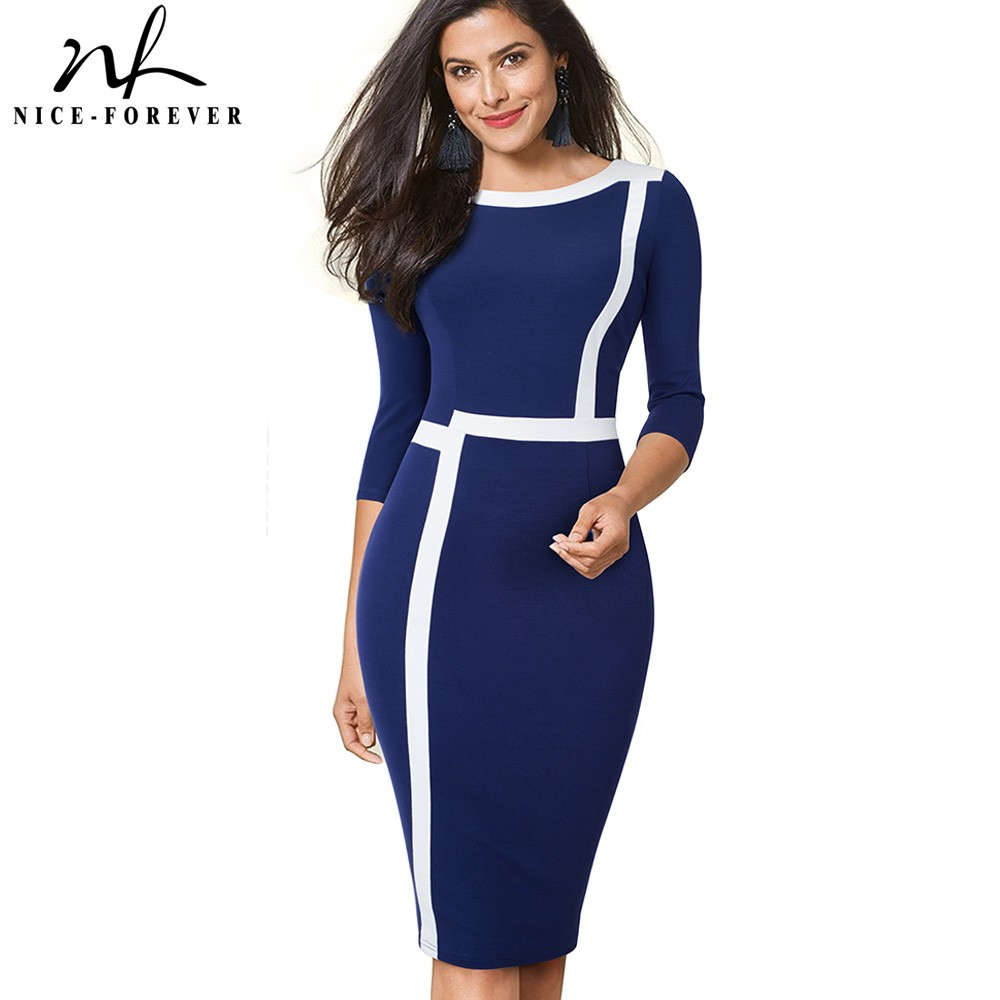 2194c41b024ae Nice-forever Vintage Optical Illusion ColorBlock Wear to Work vestidos  Business Party Bodycon Women Elegant Office Dress B474
