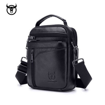 Genuine Leather men's Shoulder bag Vintage cow leather man Messenger Bags Casual zipper handbag for male Small Crossbody bag Cross Body Bags