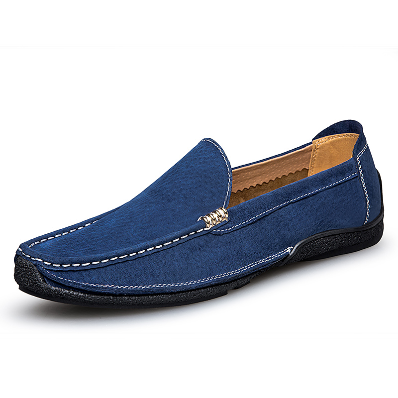 2019 New Fashion Men's   Leather   Loafers Slip on Male Flat Luxury Walking Sneakers Blue Black Man Driving   Suede     Leather   Shoes