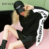 ELF SACK Autumn New Fashion Woman Tshirts Cotton Casual Full Women T shirt Loose Letter Print O Neck Female Women Tops Tees