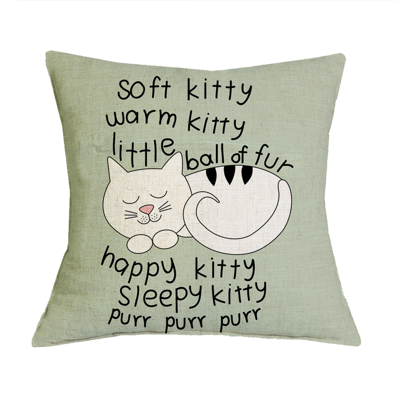 Cute Kitty Decorative Home Cotton Linen Pillow Case Cover Living Room Bed Chair Seat Waist Throw Cushion Lovely Cat Pillowcases
