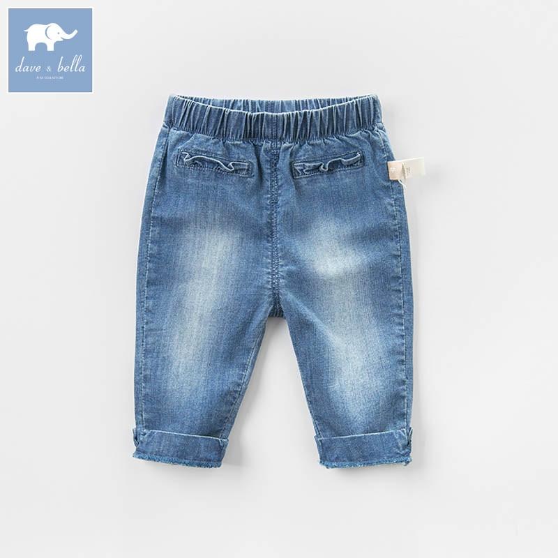 DB7033 dave bella spring unisex baby fashion denim solid jean kids pants children boutique trousers цена