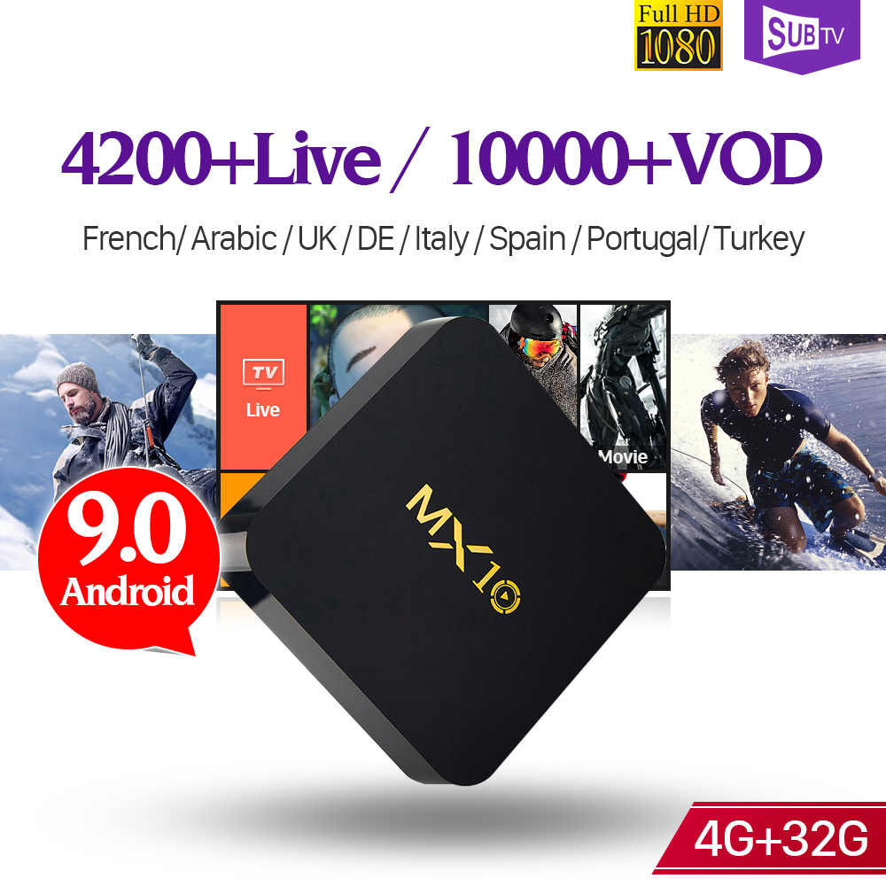 IPTV Pháp Full HD MX10 TV Box 4GB 32GB RK3328 Thông Minh Android 9.0 1 Năm SUBTV Mã IPTV thuê bao Tiếng Ả Rập Pháp IPTV Hộp
